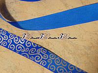 """Репсовая лента """"Вензель"""" синий с серебристым рисунком № 40 шириной 2,5 см"""