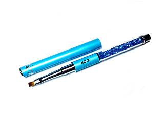 Кисть для геля со стразами №2, голубая