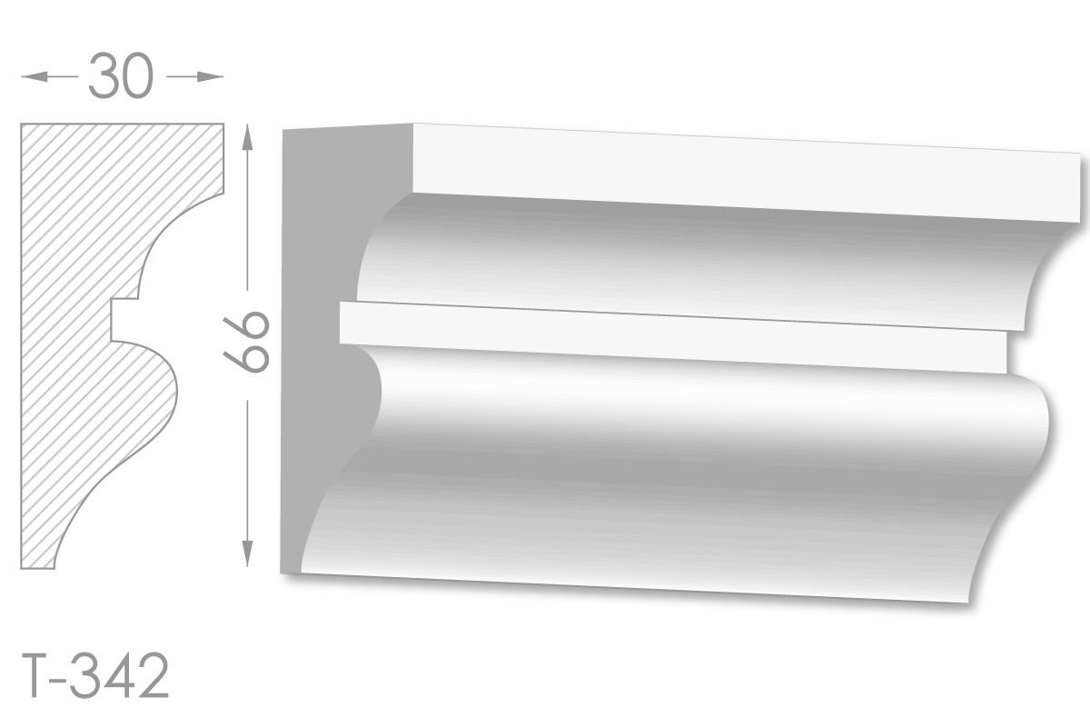 Декоративний молдинг, плінтус, фриз, тяга з гладким профілем з гіпсу т-342