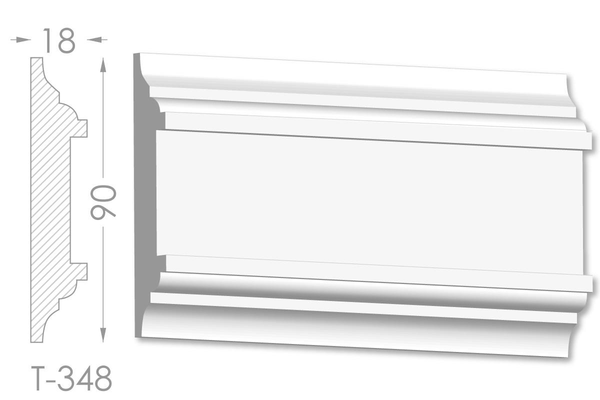 Декоративный молдинг, плинтус, фриз, тяга с гладким профилем из гипса т-348