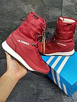 Зимние сапоги Adidas Terrex, бордовые