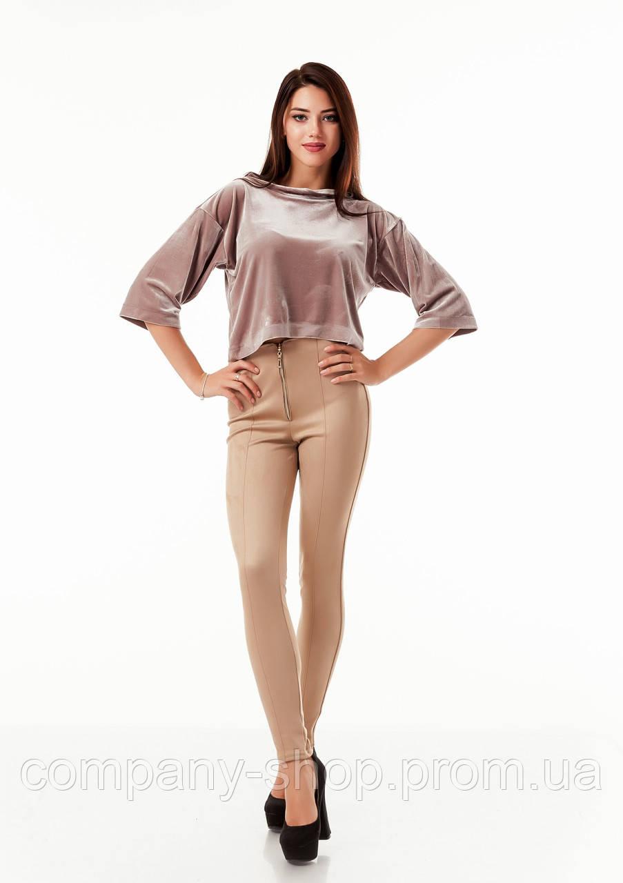 Леггинсы-брюки замшевые светлые с молнией впереди. Модель L069_бежевый.