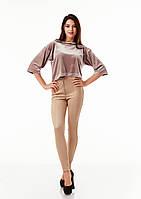 Леггинсы-брюки замшевые светлые с молнией впереди. Модель L069_бежевый., фото 1