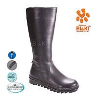 Кожаные сапоги зимние на девочку BIKI. детская подростковая зимняя обувь 33 -35
