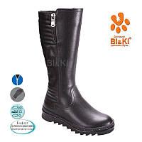 Кожаные сапоги зимние на девочку BIKI. детская подростковая зимняя обувь 33-38