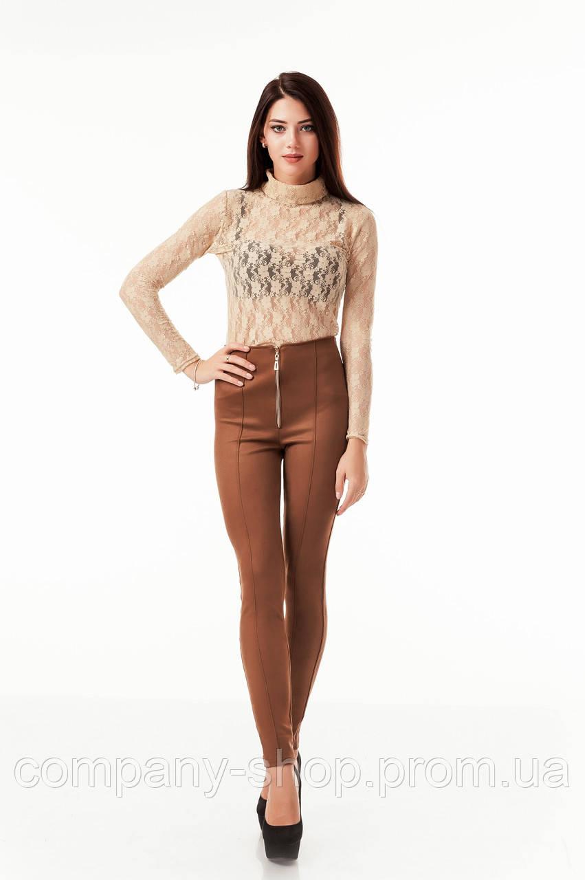 Леггинсы-брюки замшевые коричневые с молнией впереди. Модель L069_коричневый.
