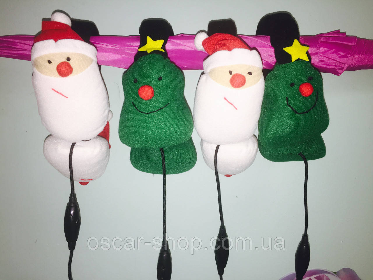 Теплі м'які навушники гарнітура Санта і Ялиночка ( можна слухати музику і говорити по телефону )