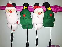 Теплі м'які навушники гарнітура Санта і Ялиночка ( можна слухати музику і говорити по телефону ), фото 1