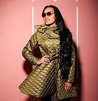 Пальто женское стильное теплое с расклешенной юбкой на силиконе разные цвета Gk215, фото 1