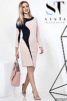 Женское платье-футляр, креп дайвинг, бежево/чёрное, размеры 42-46