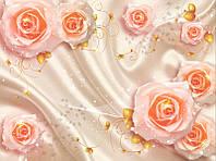 Розы на атласе 3д