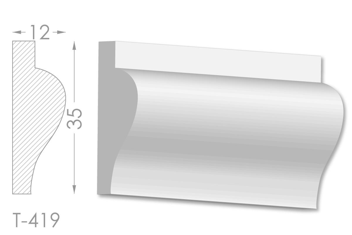 Декоративный молдинг, плинтус, фриз, тяга с гладким профилем из гипса т-419