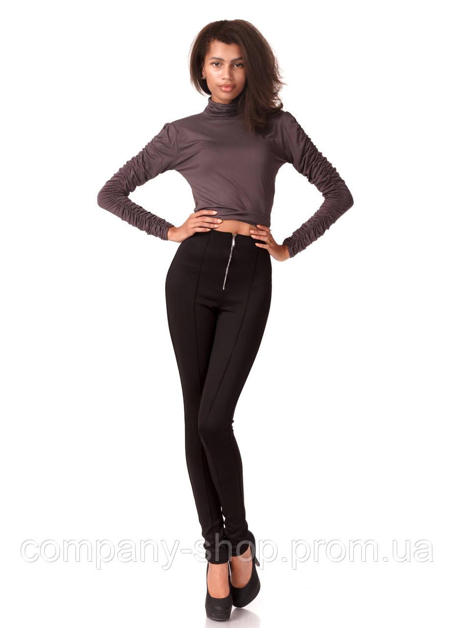 Леггинсы-брюки черные трикотажные с молнией впереди. Модель L069_черный.