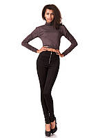 Леггинсы-брюки черные трикотажные с молнией впереди. Модель L069_черный., фото 1