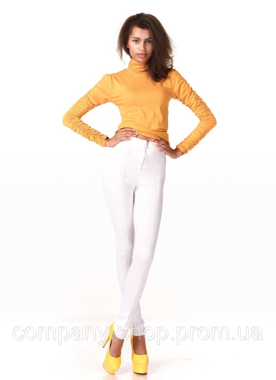 Леггинсы-брюки белые трикотажные с молнией впереди. Модель L069_белый.