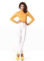 Леггинсы-брюки белые трикотажные с молнией впереди. Модель L069_белый., фото 1