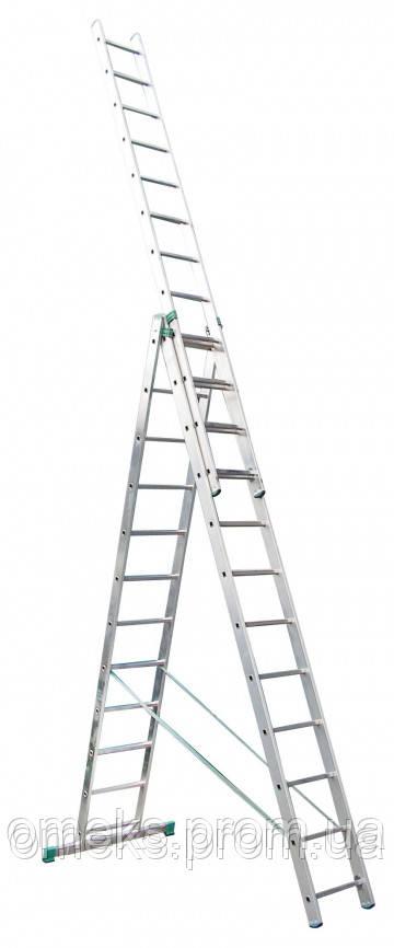 Лестница универсальная ITOSS 7611 из трех частей - 3х11 ступ., длина 7,11/3,15 м, вес 19,1 кг BPS
