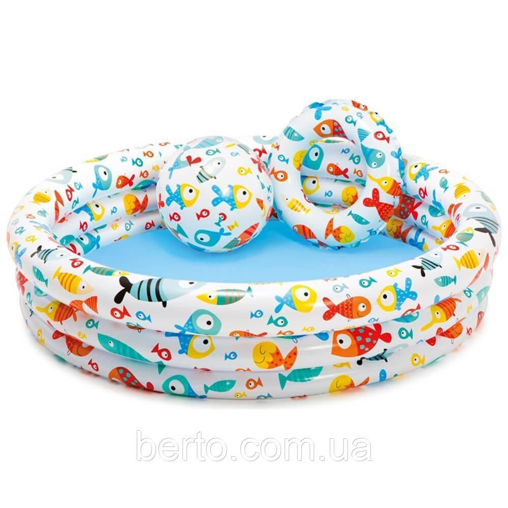 Надувний басейн дитячий інтекс 59469 з кругом та м'ячем 132 см.