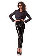 Леггинсы-брюки кожаные с молнией впереди. Модель L070_кожа черный.