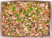"""Смесь """"Лобио с грибами"""" (шампиньоны, морковь кубик, фасоль стручковая, лук кубик, кукуруза) замороженная"""