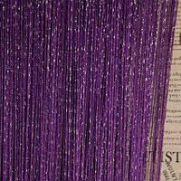 Нити шторы  для спальни декор фиолетовая