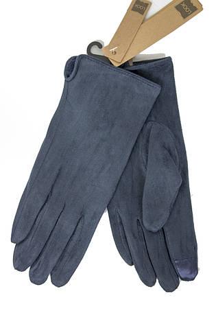 Перчатки замшевые синие СЕНСОРНЫЕ Look, фото 2