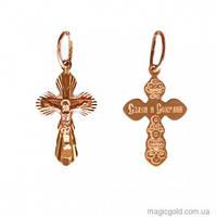 Золотой крестик Спаси и сохрани из красного золота