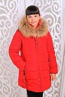 Детская зимняя куртка из плащевки в красном цвете