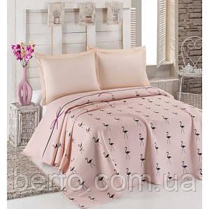 Покрывало пике вафельное Eponj Home - Flamingo Pudra  160 х 235