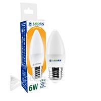 Светодиодная лампа LedEX 6W E27 свеча 3000k, 500 lm, теплый свет, Лампочка LED E27