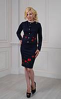 Трикотажный женский костюм с вышивкой размеры 44-56, цвета разные, фото 1