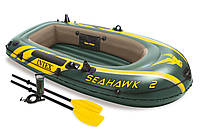 Надувна двомісна лодка човен Intex 68347 Seahawk 2 Set