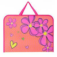 """491315 Папка-портфель на молнии с тканевыми ручками А3 """"Flowers"""""""