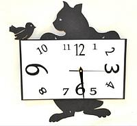 """Часы настенные """"Кошка и птичка"""" (40*34 см) металл"""