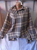 Рубашка женская с длинным рукавом на байке с начесом косуха на пуговицах