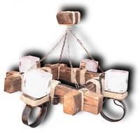 Люстра из дерева на цепях  с четырьмя стеклянными плафонами