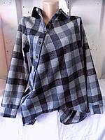 Рубашка женская с длинным рукавом в клетку на байке с начесом косуха на пуговицах