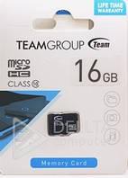 Карта памяти MicroSD 16Gb Team без адаптера class 10, носитель информации MicroSD 16Gb