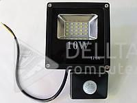 Прожектор LED с датчиком FL-10W-S, 10W 750 lm, 6400К холодный белый, Светодиодный прожектор FL-10W-S