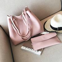 Пудровая женская сумка шоппер