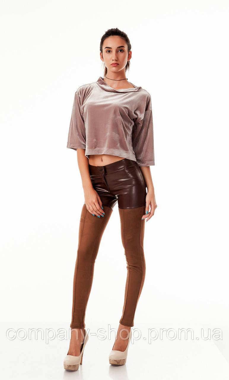 Леггинсы-брюки комбинированные оптом. Модель L084_коричневый.