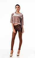 Леггинсы-брюки комбинированные оптом. Модель L084_коричневый., фото 1