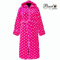 Яркий женский теплый зимний махровый халат в горошек с капюшоном и молнией