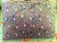 Набор одеяло+подушка на меху Серые единороги
