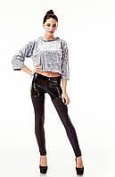 Леггинсы-брюки комбинированные оптом. Модель L084_черный., фото 1