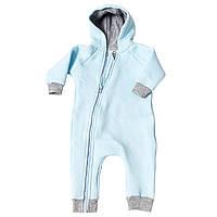Комбинезон (человечек) на молнии для новорожденных Голубой размер 72