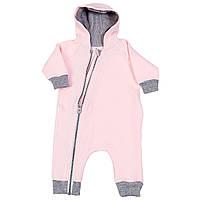 Комбинезон (человечек) на молнии для новорожденного Розовый р.56