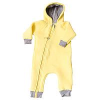 Комбинезон (человечек) на молнии для новорожденного Желтый р.56
