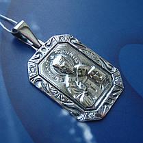 Серебряная подвеска-ладанка с фианитами Николай Чудотворец, фото 3