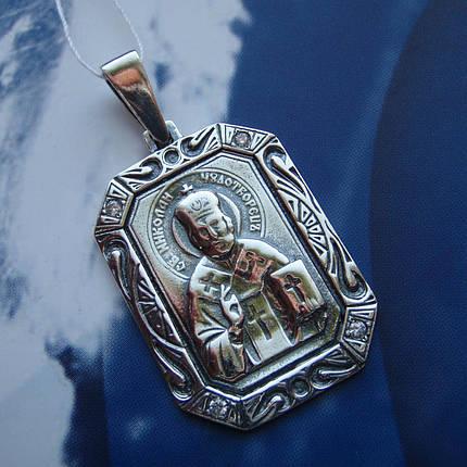 Серебряная подвеска-ладанка с фианитами Николай Чудотворец, фото 2